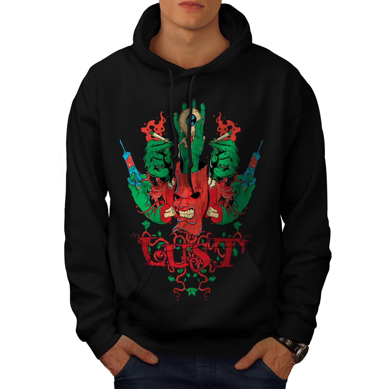 Lust Smoke Horror Eye Flesh Arm Men Black Hoodie | Wellcoda
