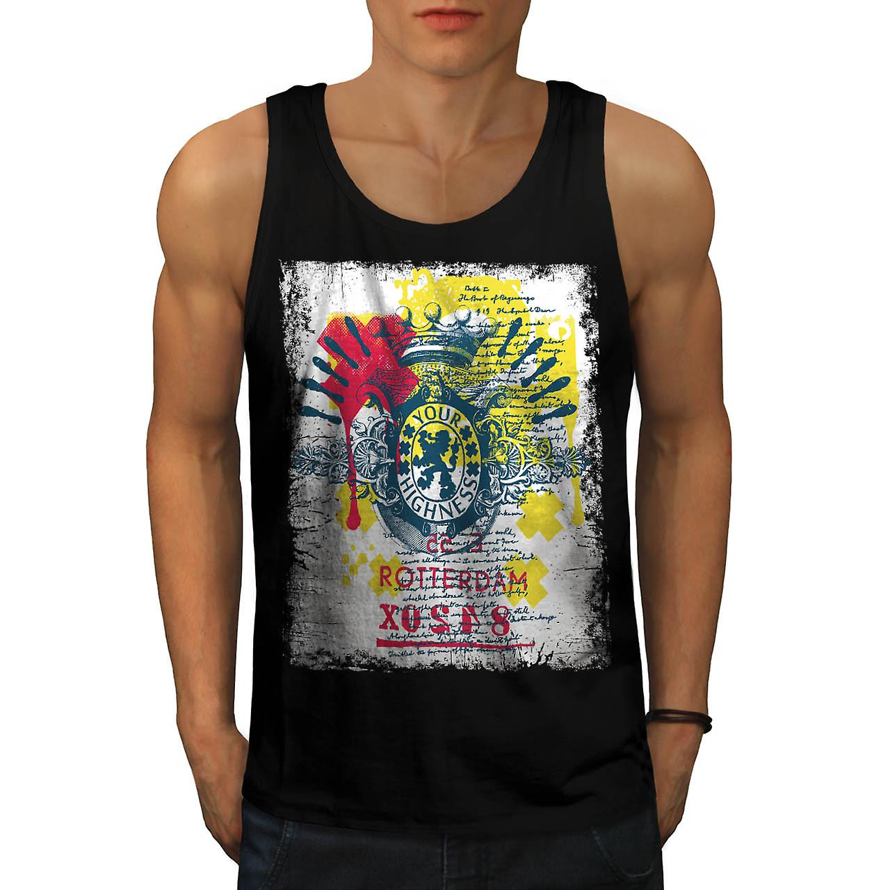 Highness Rotterdam European UK Men Black Tank Top | Wellcoda
