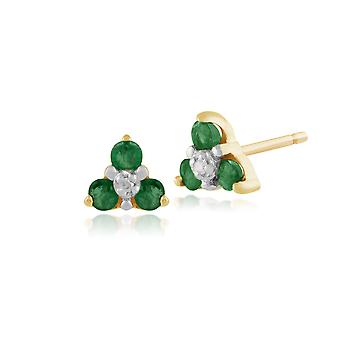 9ct Yellow Gold 0.23ct Emerald & Diamond Floral Cluster Stud Earrings