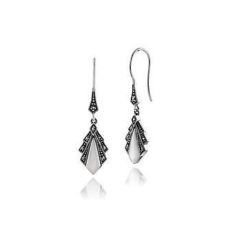 Gemondo 925 Sterling Silber 1ct Mutter der Perle & Markasit Art Deco Ohrringe