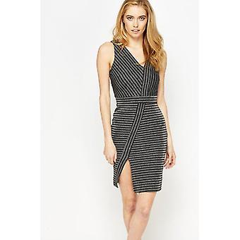 Miss Selfridge Lurex Stripe asymmetrische jurk DR851-6