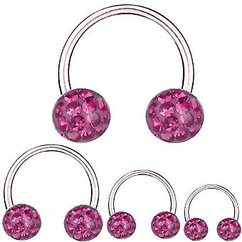 Circular Barbell Horseshoe Titanium 1,2 mm, Multi Crystal Ball Pink | 6 - 12 mm