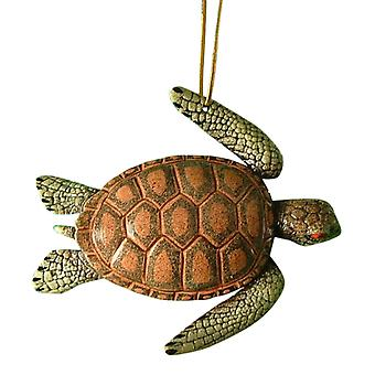 Tropical Reef Sea Turtle Tiki Christmas Ornament 05