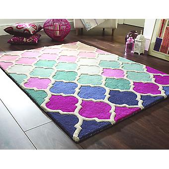 Illusion Rosella Pink Blue  Rectangle Rugs Funky Rugs