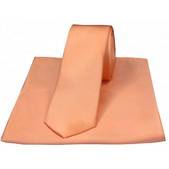 David Van Hagen Satin Thin Tie and Pocket Square Set - Peach