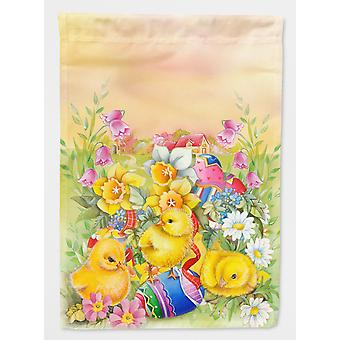 Carolines Treasures  APH5613CHF Easter Chicks and Eggs Flag Canvas House Size