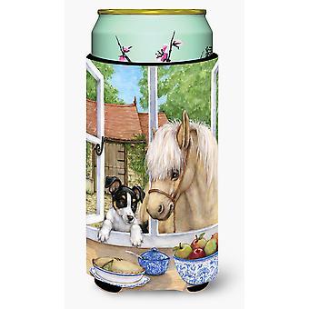 Jack Russel valp og Foal hest høy gutt drikke isolator Hugger