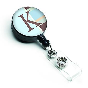 Letter K Initial Monogram - Blue Stripes Retractable Badge Reel
