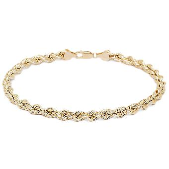 Floreo 10k Yellow Gold Hollow Rope Chain Bracelet and Anklet, 4mm (0.16