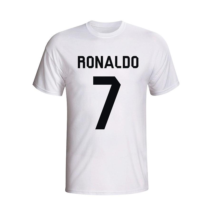 Cristiano Ronaldo Real Madrid helten T-shirt (hvit) - Kids