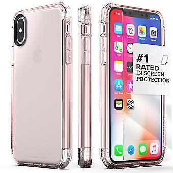 SaharaCase iPhone X caja de oro rosa, Inspire protección Kit paquete con ZeroDamage de cristal templado