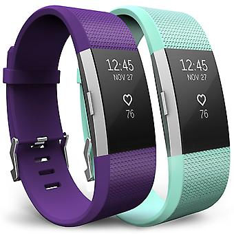 Yousave Fitbit Charge 2 Strap 2-Pack (Large) - Plum/Mint Green