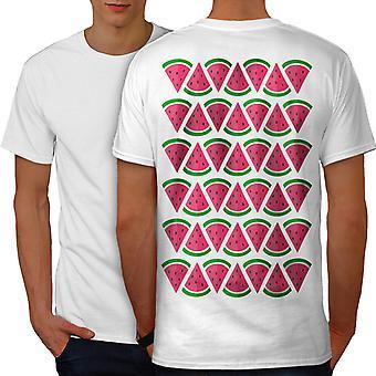 Watermelon Piece Men WhiteT-shirt Back | Wellcoda