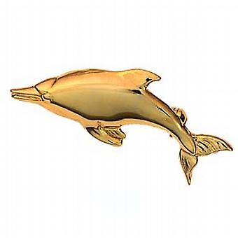 9ct Gold 42x16mm plain Dolphin Brooch