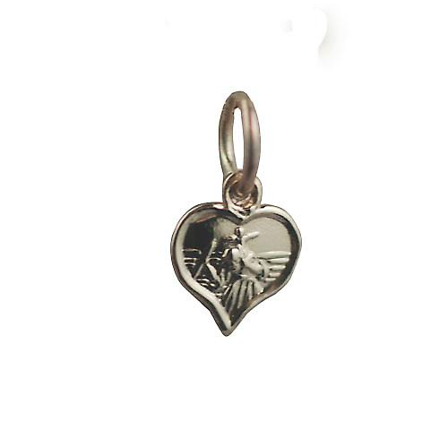 9ct Gold 8mm heart St Christopher Pendant or Charm