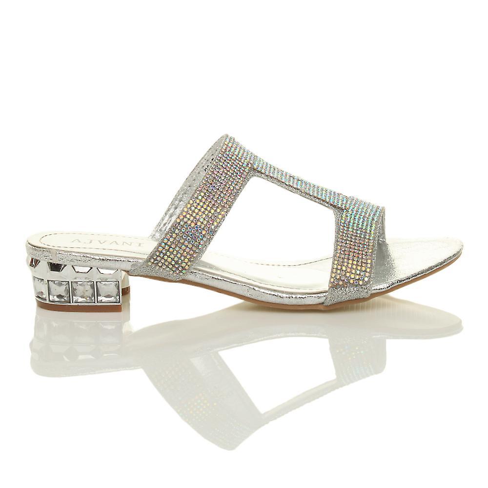 Ajvani womens womens womens low block heel diamante gem evening slip on mules flip flops sandals shoes 581284