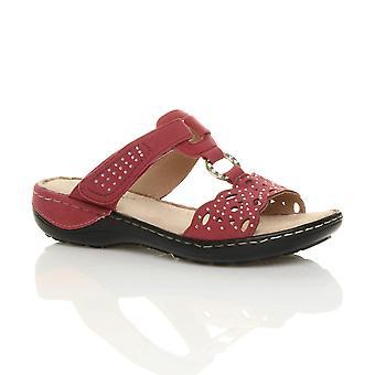 Ajvani Womens niedrigen mittleren Keil Ferse Komfort gepolstert Diamante Schlepplift Sandalen