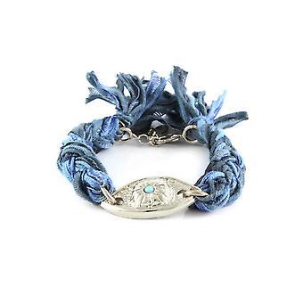 Ettika - eye silver Bracelet and cotton braided ribbons blue and black