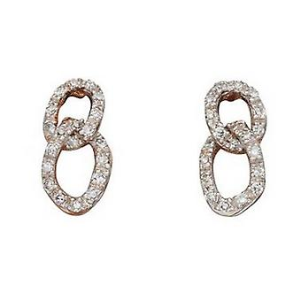 Elements Gold Diamond Two Link Drop Earrings - Rose Gold/Clear