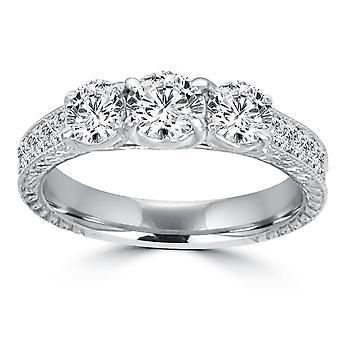 1ct Vintage tre sten rund diamant förlovningsring 14K vitguld (H/SI2)