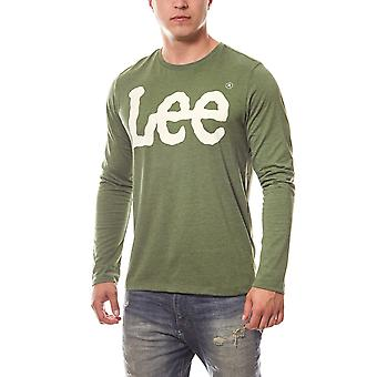 Lee logo tee long sleeve men's sweatshirt green logo