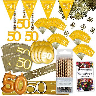 Goldhochzeit party decoration set XL 103-teilig 50 years anniversary gold wedding party package