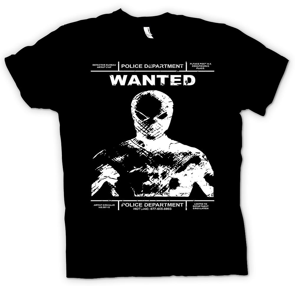 Mens T-shirt - Spiderman Wanted Police Poster