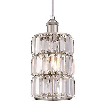 Pendant Sophie Brushed Nickel with 1 Light Crystal Prism Glass