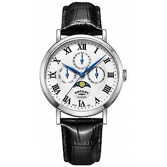 Rotary Mens Windsor Moonphase Day Date Black Leather Strap GS05325/01 Watch