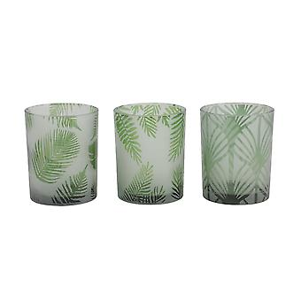 Light & Living Tealight S/3 Ø10x12,5 Cm FOLHAS Glass Green
