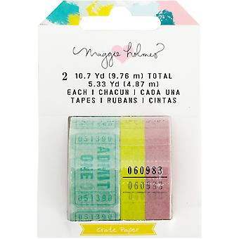Maggie Holmes Chasing Dreams Washi Tape 2/Pkg-Tickets W/Gold Foil