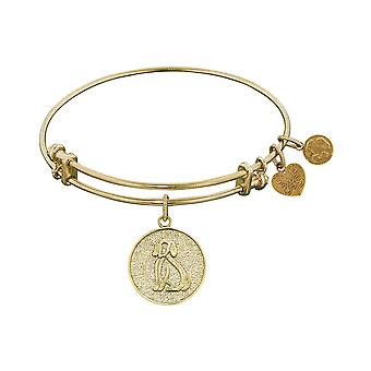 Stipple Finish Brass Dog Angelica Bangle Bracelet, 7.25