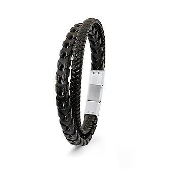 s.Oliver jewel mens leather bracelet black stainless steel 2022623
