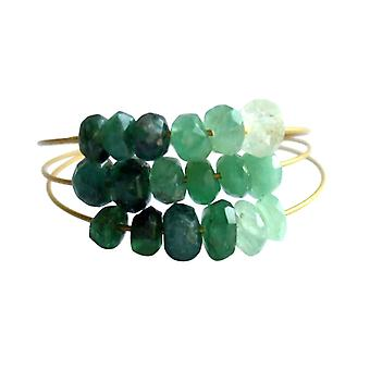Gemshine - women's - ring - gold plated - emerald - green