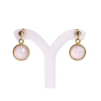 Rose Quartz earrings with gemstones, pink gold plated