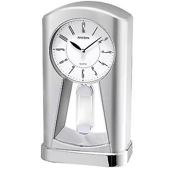 Tabel ur kvarts ur sølv rytme med swing pendul desk ur 23 x 13 cm