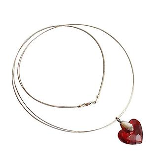 Heart Necklace with Crystal deep red 925 Silver heart pendant KYRA element