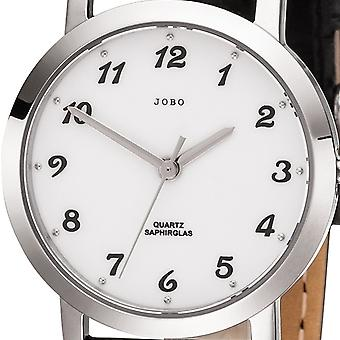 JOBO ladies wrist watch quartz analog stainless steel leather strap Black Womens watch