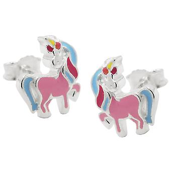 Stud earrings unicorn colored silver 925