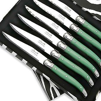 Set van 6 Laguiole steakmessen ABS groen Direct uit Frankrijk