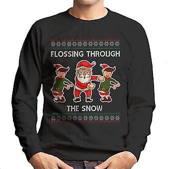 Elfy Santa Flossing poprzez bluza męska Christmas Snow