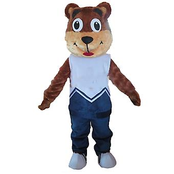 mascot SPOTSOUND of Brown and beige, Teddy in blue outfit