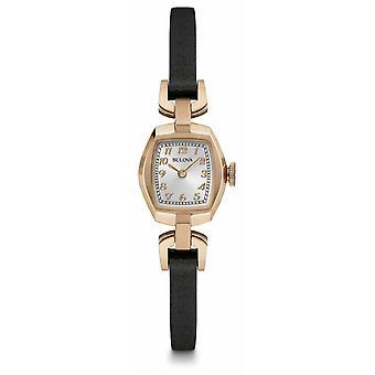 Bulova Womans Square Silver Dial Black Leather Strap 97L154 Watch