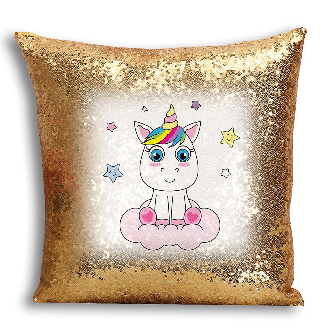Gold Cover tronixsUnicorn Printed Inserted CushionPillow I Design Home 8 With Decor For Sequin mYgbfIyv76