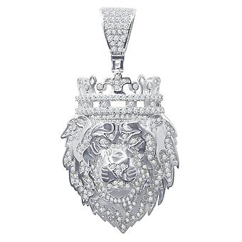 925 Sterling Silber Micro Pave Anhänger - KING LION