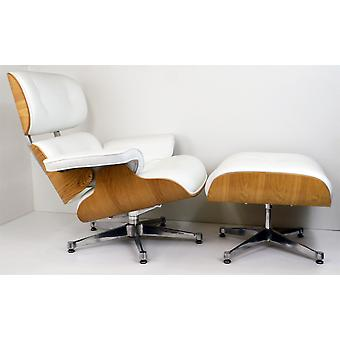Charles Eames Lounge Chair & Ottoman Genuine White Leather with Ashwood finish