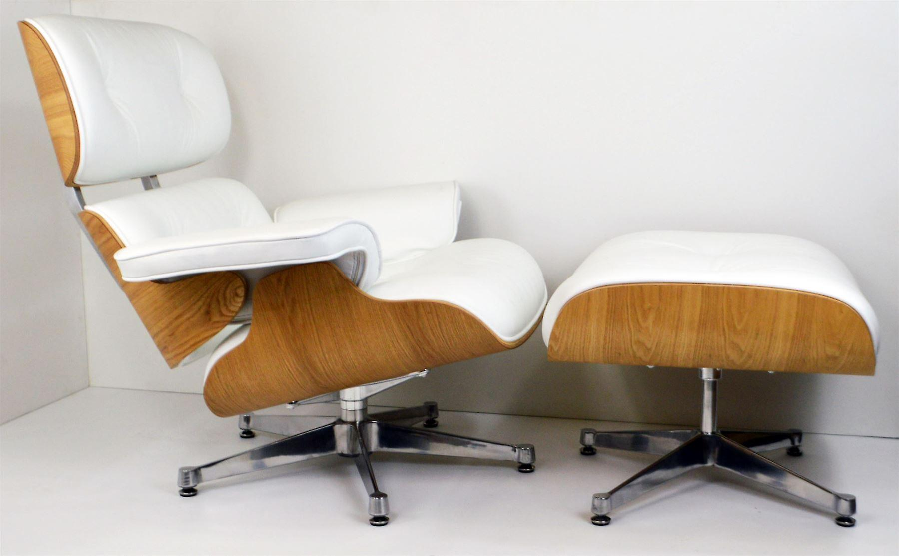Charles eames lounge chair ottoman genuine white leather for Eames chair nachbau