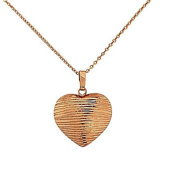 TOC Rose-Goldtone Sterling Silver Striped Heart Pendant Necklace 18