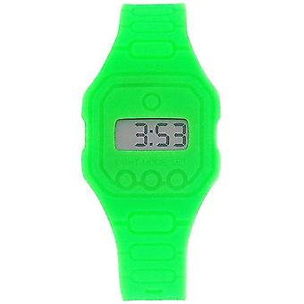 Pixelmoda Unisex Digital With Backlight Green Trendy Flat Silicone Strap Watch