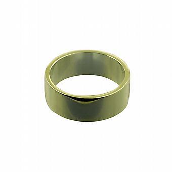 18ct Gold 8mm plain flat Wedding Ring Size Q